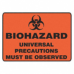 Biohazard Sign, 7 x 10In, BK/ORN, SURF