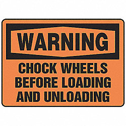 Warning Sign, 10 x 14In, BK/ORN, PLSTC, ENG