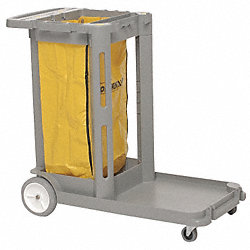 Janitor Cart, 43 In x 30 In x 38 In, Bue