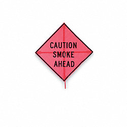 Caution Fire Smoke Ahead Sign, 48 x 48In