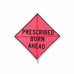 Folding Fire Sign, 48 x 48In, BK/ORN, Mesh