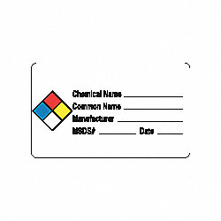 Hazard Chemical Label, Roll, PK 250