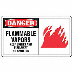 Sign, 7x10 In, Danger Flammable Vapors