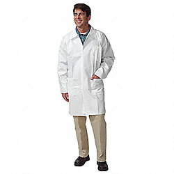 Disp. Lab Coat, L, Tyvek(R), White