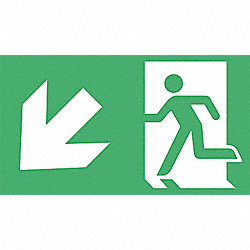 Fire Exit Sign, 8 x 4-1/2In, Glow/GRN, SYM
