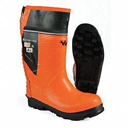 Chain Saw Boot, Mn, 11, Stl Toe, Or/Blk, 1PR