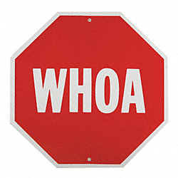 Traffic Sign, WHOA, 18 x 18In