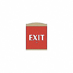 Exit Sign, 9-1/8 x 7In, WHT/R, PLSTC, Exit