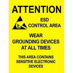 Warning Sgn, 22x17In, BK/YEL, ENG, Alert, PK5