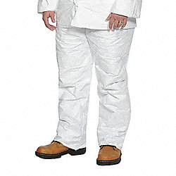 Disposable Pants, S, Elastic Waist, White