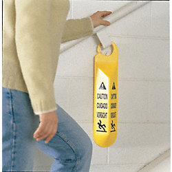 Caution Sign, 19-1/2 x 4-1/2In, BK/YEL, SYM