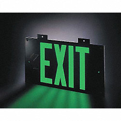 Exit Sign, 8 x 15In, GRN/BK, Metal