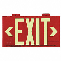 Exit Sign, 7-1/2 x 13In, R, Plastic