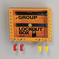 Group Lockout Box, 27 Locks Max, Yellow