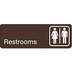 Restroom Sign, 3 x 9In, WHT/BR, ACRYL, ENG
