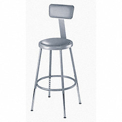 Stool, Padded, Backrest, Adjustable, Gray