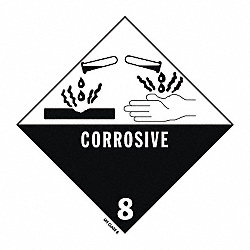 DOT Label, 4 In. H, Corrosive, PK 100