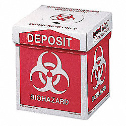 Biohazard Burn Box, 12 In. H, 8 In. W, PK 6