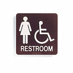 Restroom Sign, 8x8 In, White/Dark BR, PLSTC