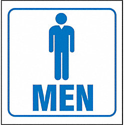 Restroom Sign, 7 x 12In, BL/WHT, Men, ENG