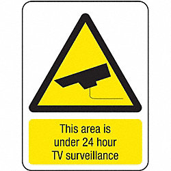 Security Sign, 16 x 12In, YEL and BK/WHT