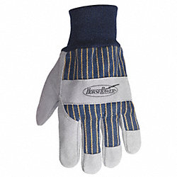 Leather Palm Gloves, Knit Wrist, L, PR