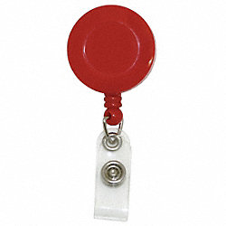 Retractable Badge Reel, w/Clip, Red, PK10