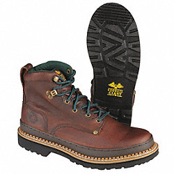Work Boots, Pln, Mens, 14W, Brown, 1PR