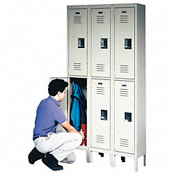 Double Tier Locker, Gray, 36x12