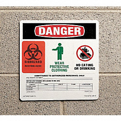 Notice Sign, 10 x 10In, BK, GRN and R/WHT