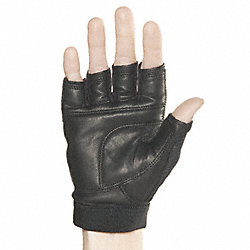 Mechanics Gloves, M, Black, Leather, PR