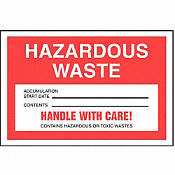 Hazardous Waste Label, 4 In. H, PK 250