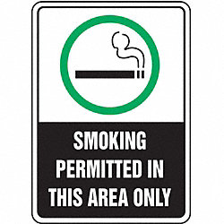 Smoking Area Sign, 10 x 7In, ENG, SURF