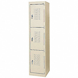 Storage Locker, Steel, 66 x15 x18 In, Putty