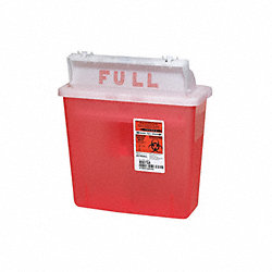 Sharps Container, 1-1/4 Gal., Red, PK 5
