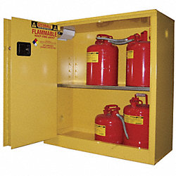 Flammable Safety Cabinet, 30 Gal., Yellow