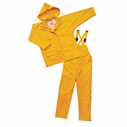 3-Piece Rainsuit with Hood, Yellow, L