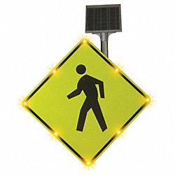 Traffic Sign, 36 x 36In, Black/Yellow