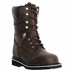 Work Boots, Pln, Mens, 9, Dark Brown, 1PR