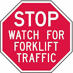 Forklift Traffic Sign, 6 x 6In, WHT/R, AL