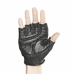 Mechanics Gloves, L, Black, Padded, PR