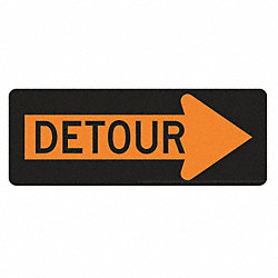 Detour Sign, 18 x 48In, BK/ORN, Detour