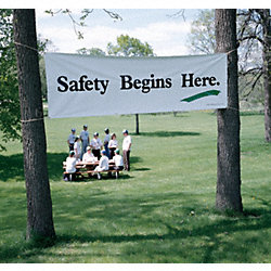 Safety Banner, 3 x 10ft., SAF Begins Here