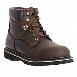 Work Boots, Pln, Mens, 8W, Dark Brown, 1PR