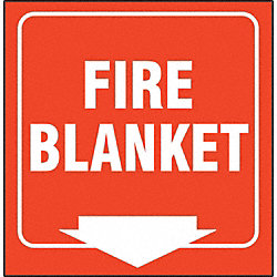 Fire Blanket Sign, 7 x 12In, WHT/R, ENG