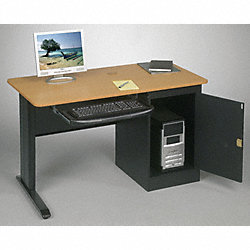 Computer Workstation, Single, 48x24, Teak