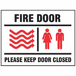 Fire Door Sign, 10 x 14In, R and BK/WHT