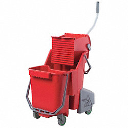 Mop Bucket and Wringer, 32 qt., Red