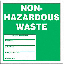 Nonhazardous Waste Label, 6 In. H, PK 100