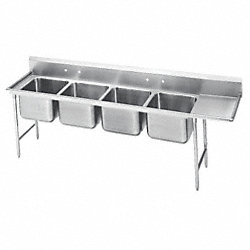 Scullery Sink, 18ga, Quad, SS, Floor Mount